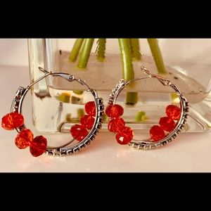 Red and Silver Indian fashion loop Earrings